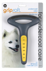 JW Pet GripSoft Double Row Undercoat Rake Rounded Coat Hair Care Dog Grooming