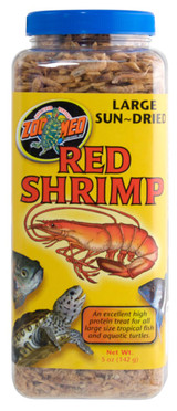 Zoo Med Sun Dried Red Shrimp High Protein Treat Rich Food Large Turtles 5 oz