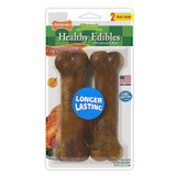 Nylabone Healthy Edibles Chicken | Wolf Size | 2 Flavored Bones for 35 lb Dogs