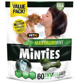 VetIQ Minties Dental Bone Treats for Dogs 5-39 pounds 60 count Tiny/Small 24 oz