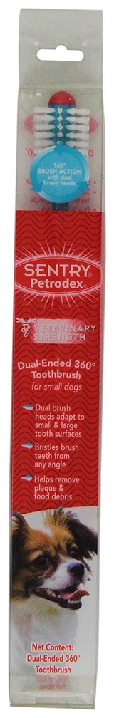 Petrodex Dual Ended Toothbrush 360 for Dogs Ergonomic Handle Rubber Plaque Small