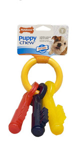 Nylabone Puppy Teething Keys Large Bacon Chew Toy for Dogs