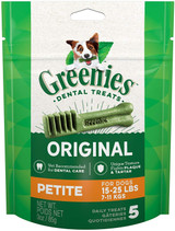 Greenies Original Dental Petite Treats for Dogs 15-25 Pounds 5 Count