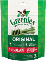 Greenies Original Dental Regular Treats for Dogs 25-50 Pounds 3 Count