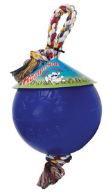 Jolly Pet Romp-n-Roll Durable Ball with Rope Toy for Dogs Blue 4.5 inch