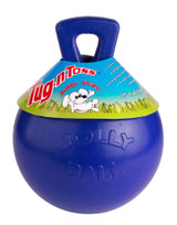 Jolly Pets Tug-N-Toss 4.5 inch Blue | Rubber Ball with Handle Chew Toy for Dogs
