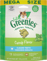 Greenies Feline Crunchy Dental Treats Catnip Flavor Mega Size 4.06 ounces