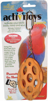 JW Pet Activitoy Nut Case | Rubber Football Shaped Bird Toy | Orange