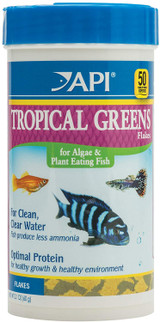 API Tropical Greens Flakes Food for Algae and Plant Eating Fish 2.1 Ounces