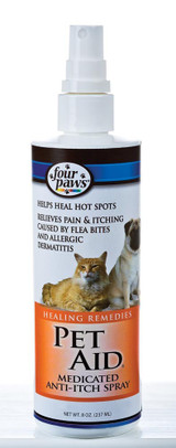 Four Paws Pet Aid 8 oz | Medicated Anti-Itch Spray | Remedy for Dogs and Cats