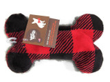 West Paw Merry Red Checker Bone Plush Toy for Dogs