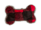 West Paw Mini Merry Red Checker Bone Plush Toy for Dogs