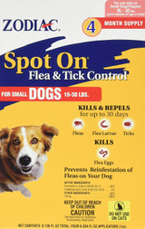 Zodiac Spot On Flea and Tick Control for Small Dogs 16-30 lb 4 Pack