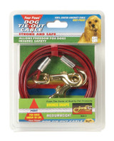 Four Paws Medium Weight Red Tie Out Cable 10 feet for Dogs