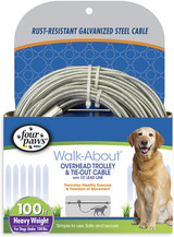 Four Paws Walk-About Overhead Trolley and Tie-Out Cable Silver 100 Feet