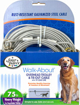 Four Paws Walk-About Overhead Trolley and Tie-Out Cable Silver 75 Feet