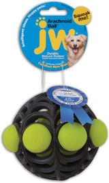 Petmate JW Natural Durable Rubber Webbed Arachnoid Ball Dog Toy Assorted Colors