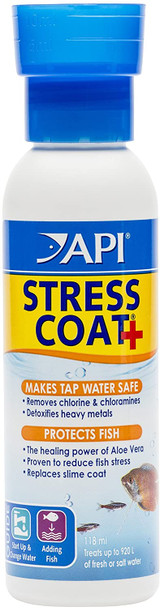 API Stress Coat Tap Water Conditioner & Replaces Fish's Protective Coat 4-Ounce