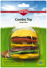 Kaytee Combo Toy Burger Bites For Small Animals - Cleans, Trims & Flosses Teeth