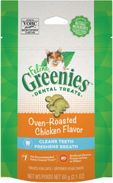 FELINE GREENIES Dental Cat Treats Oven Roasted Chicken Flavor 2.1-Ounce