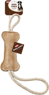 SPOT Dura-Fused Leather Tug And Toss Durable Rope Dog Toy