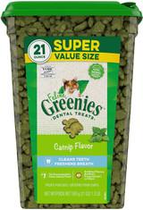 Greenies Super Value Size Feline Dental Treats Catnip Flavor 21-Ounce Tub