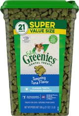 Greenies Super Value Size Feline Dental Treats Tempting Tuna Flavor 21-Ounce Tub