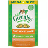 Greenies Mega Size Feline Smart Bites Chicken Flavor Hairball Control 4.6-Ounce