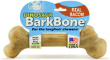 Pet Qwerks Dinosaur BarkBone For Tough Chewers Bacon Flavor Large Dog Chew Toy
