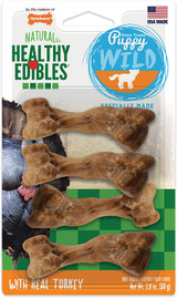 Nylabone Natural Healthy Edibles Puppy Chew Treats With Real Turkey 4 Pack