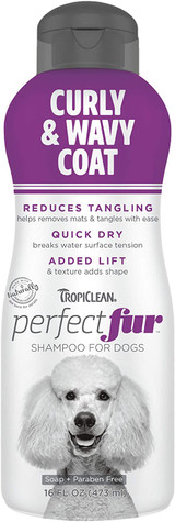 TropiClean PerfectFur Curly & Wavy Coat Shampoo For Dogs 16-Ounce