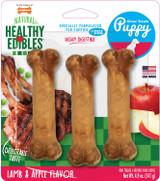 Nylabone Natural Healthy Edibles Lamb & Apple Flavor Puppy Chew Treats 3-Count