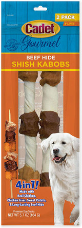 Cadet Gourmet Beef Hide Shish Kabobs 4-in-1 Flavors For X-Large Dogs 2-Pack