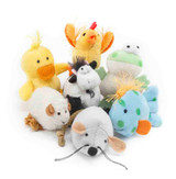 Multipet Look Who's Talking Assorted Plush Cat Toy Makes Realistic Animal Sounds