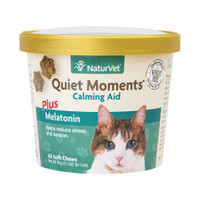 NaturVet Quiet Moment Cat Calming Aid Supplement Soft Chew Plus Melatonin 60 ct