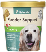 NaturVet Bladder Support Cranberry Dog Soft Chew Urinary Tract Supplement 60 ct