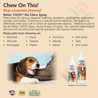 NaturVet BITTER YUCK No Chew Spray For Dog/Cat/Horse - Water Based 8 oz