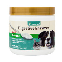 NaturVet DIGESTIVE ENZYMES PROBIOTICS Healthy Digestion for Dogs and Cats 8 oz
