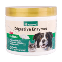 NaturVet DIGESTIVE ENZYMES PROBIOTICS Healthy Digestion for Dogs and Cats 4 oz