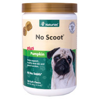 NaturVet No Scoot Plus Pumpkin Soft Chew Support Healthy Bowels for Dogs 120 ct