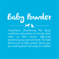 TropiClean Baby Powder Natural Spray Refreshing Soap Free Cat Dog Cologne 8oz