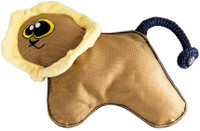 WO Wild Lion Durable Plush Dog Chew And Tug Toy With Squeaker And Rope Tail
