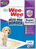Four Paws Wee-Wee Pads Insta-Rise Border Super Absorbent 22x23 Dog Pads 10 count