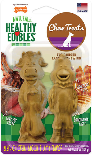Nylabone Natural Healthy Edibles Chew Treats Beef, Chicken, Bacon & Lamb Flavor