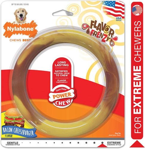 Nylabone Long Lasting  Flavor Frenzy Dog Chew Toy Ring Bacon Cheeseburger Flavor
