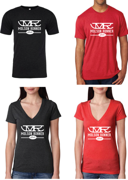 V-Neck design with our Logo mid-chest; comfortable and form-fitting Molson Runner Sleds Women's T-shirt.