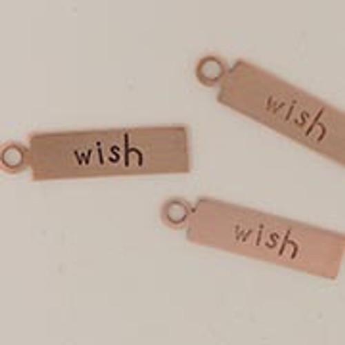 "Copper Rectangle Tag ""Wish"""