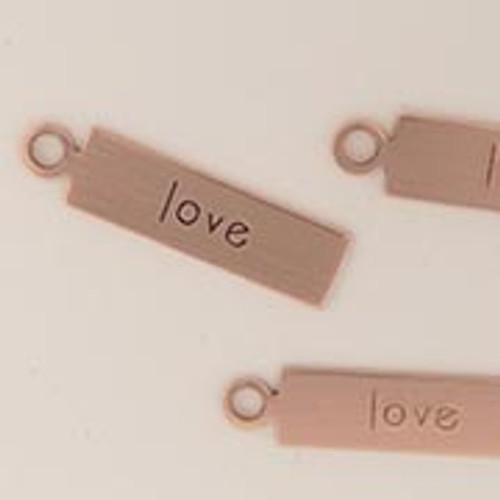 """Copper Rectangle Tag """"Love"""""""