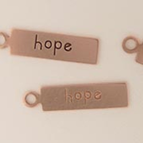 "Copper Rectangle Tag ""Hope"""