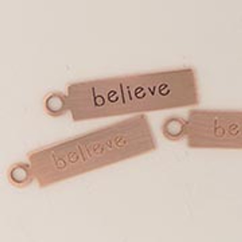 "Copper Rectangle Tag ""Believe"""